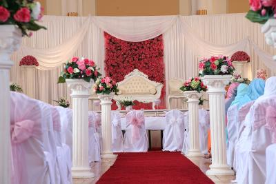 image of the Lancastrian set up for a wedding